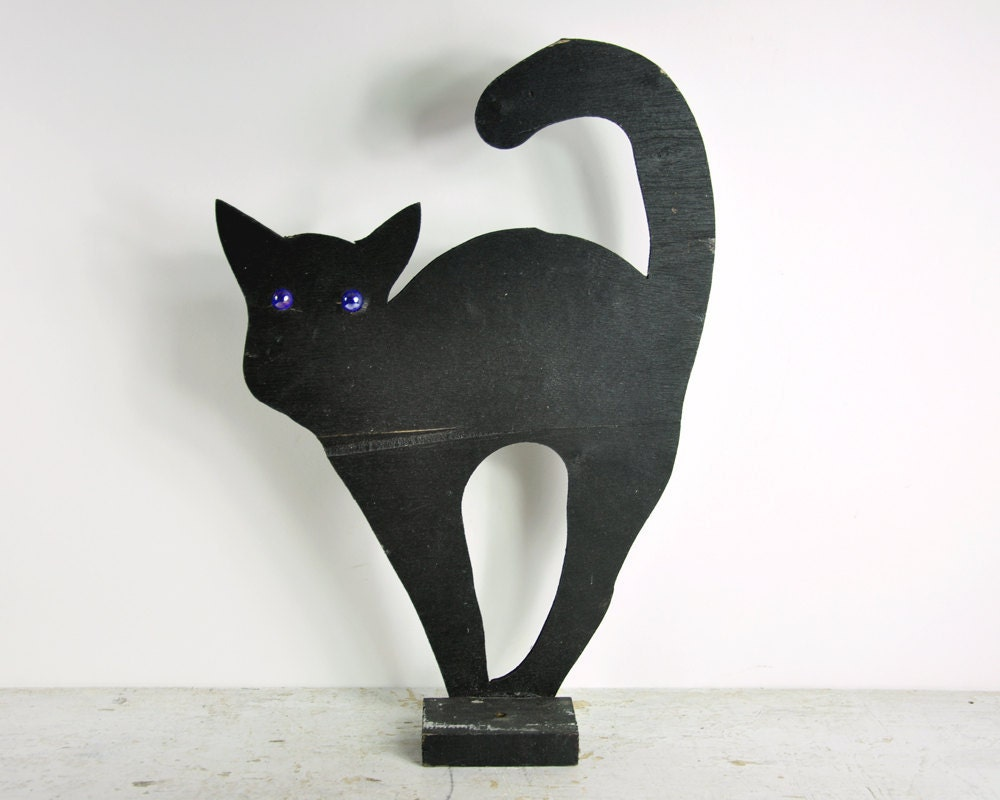 Vintage Black Cat - Halloween Decor