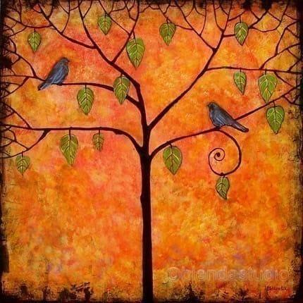 Art Print Tree Bird Signed Tangerine Sky 8X8