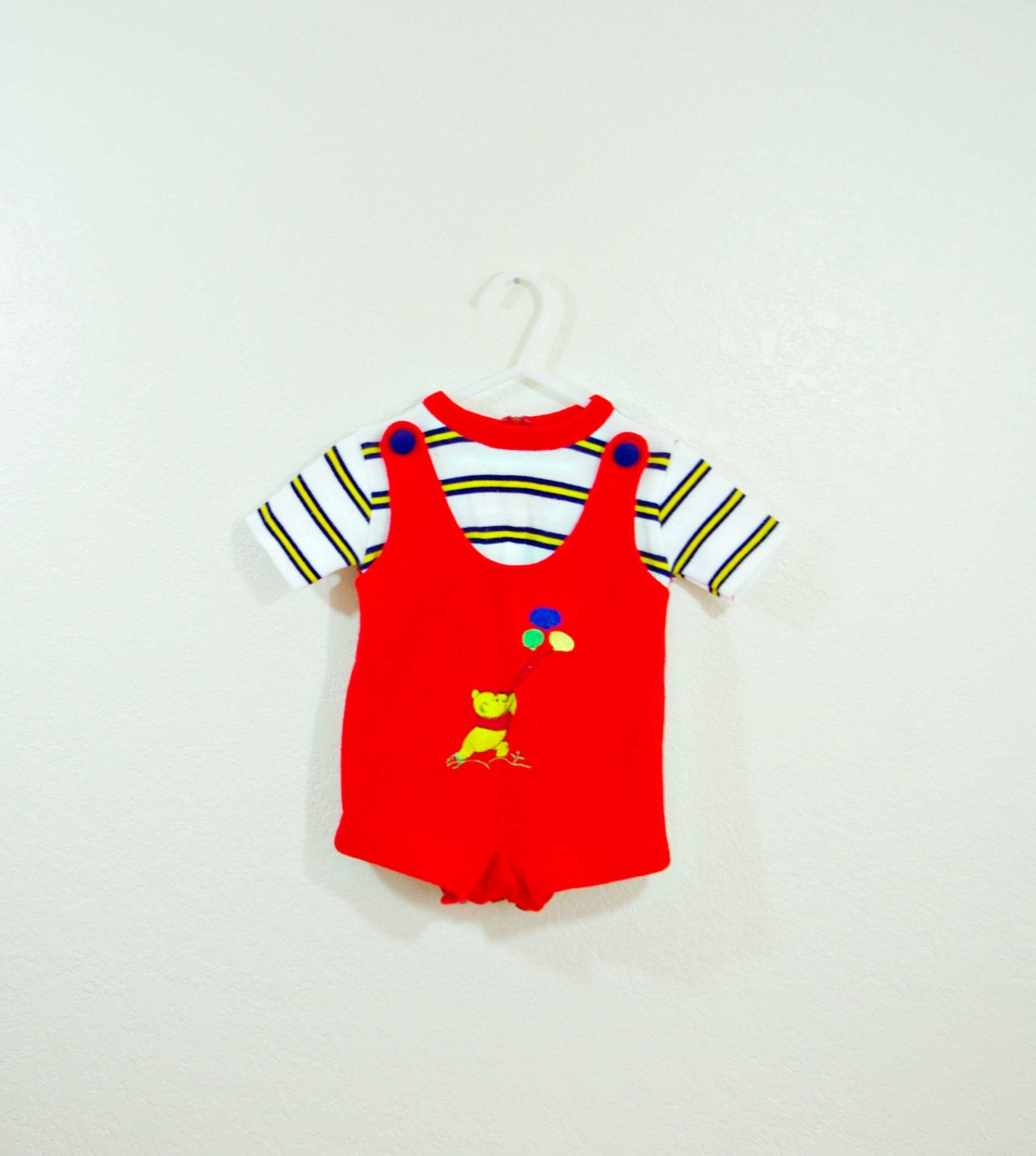 Vintage Baby Boy Knitted Pooh Bear Romper, size 9 months, red knitted romper, blue and yellow striped shirt, red collar - BugandBearVintage