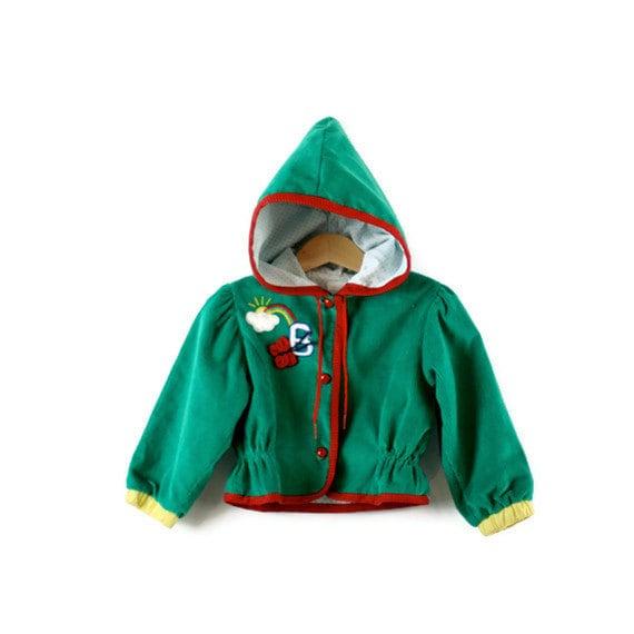 Vintage Jacket Hooded in Green Corduroy  Cutest EVER - udaskids