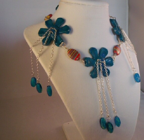 Beaded Choker - Polymer Clay Daisies - Turquoise