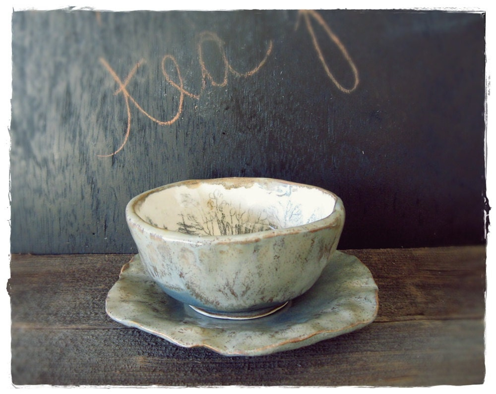 Porcelain Tea Bowl and Saucer - Nature Hand Drawn Design - farmhousebluesstudio