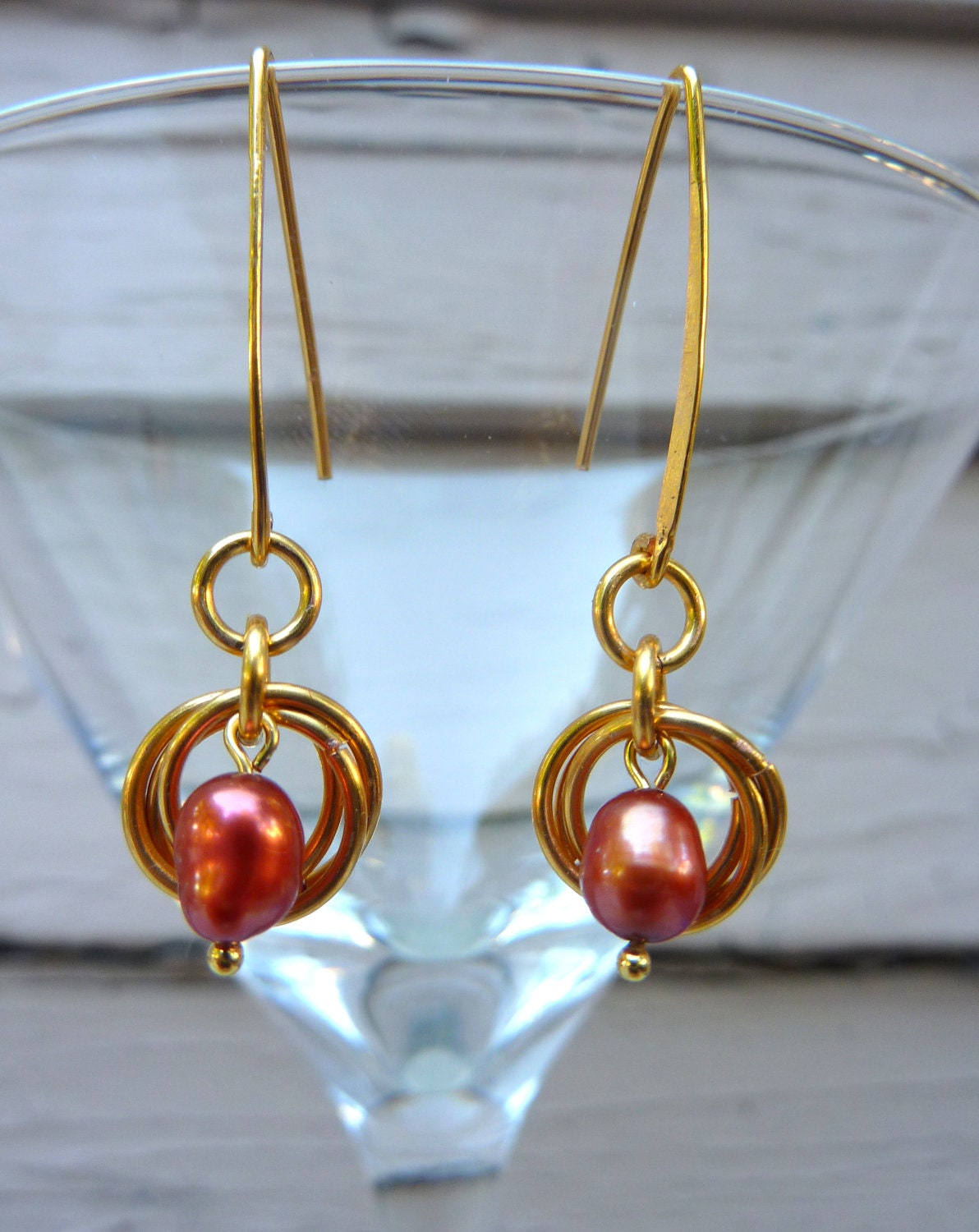 Gold Hammered Dangly Earrings with Orange Magenta Iridescent Pearls