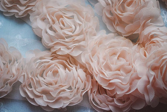 Champine Pink Chiffon Rosette Wedding Lace Trim DIY Fabric Crafts