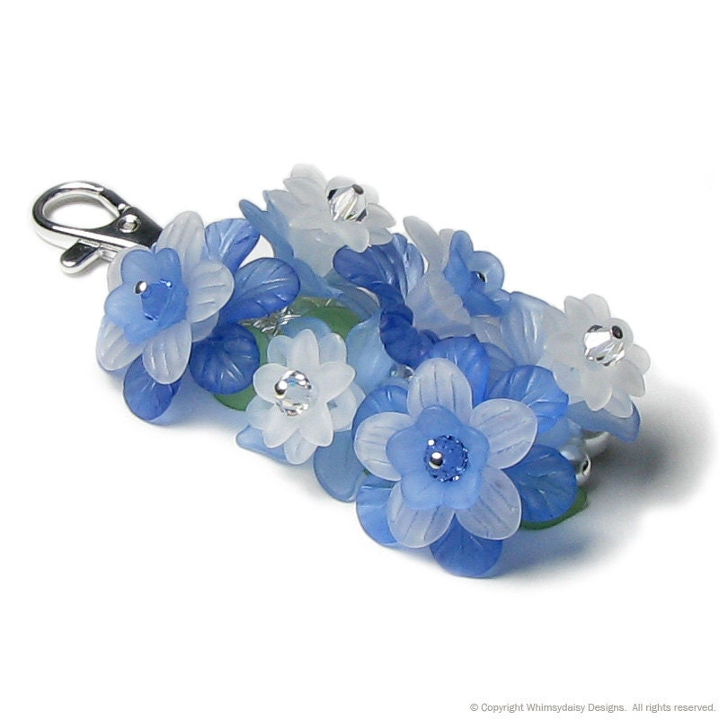 Blue Mountain Flower Crystal Pearl Cluster Silver Handbag Charm Keychain