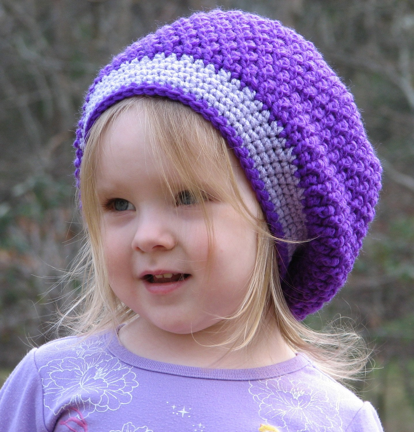 Slouchy Beret Toddler Beanie Crochet Pattern 3 sizes included PDF 034 Permission to Sell Finished Items