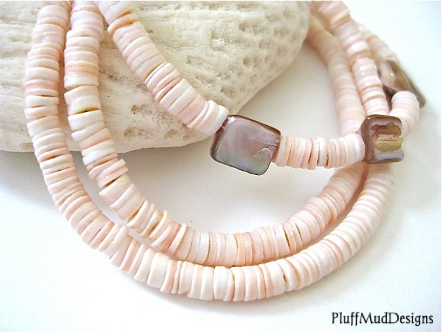 End of Summer Sale - 20% Off Pink Heishi Shell Mother of Pearl Bracelet - PluffMudDesigns