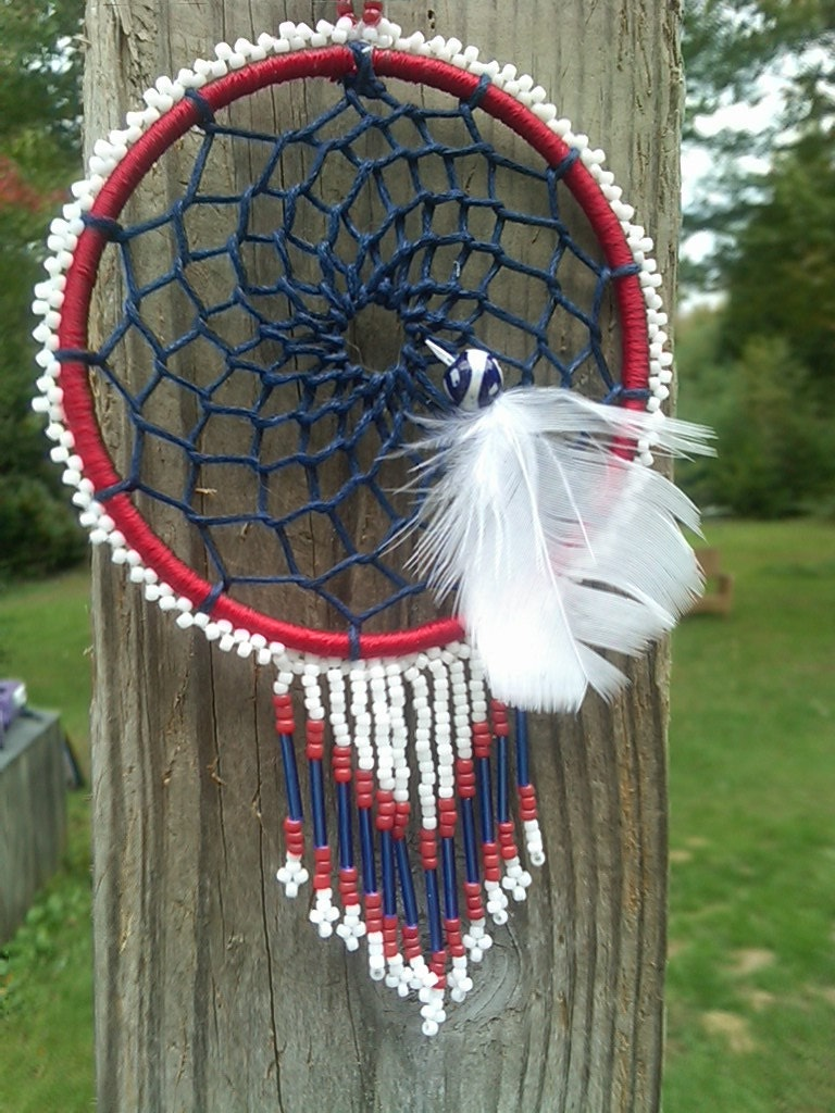 Patriotic Beaded Car Dream Catcher