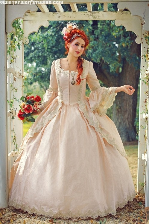 Dusty Rose and Champagne Marie Antoinette Gown Custom