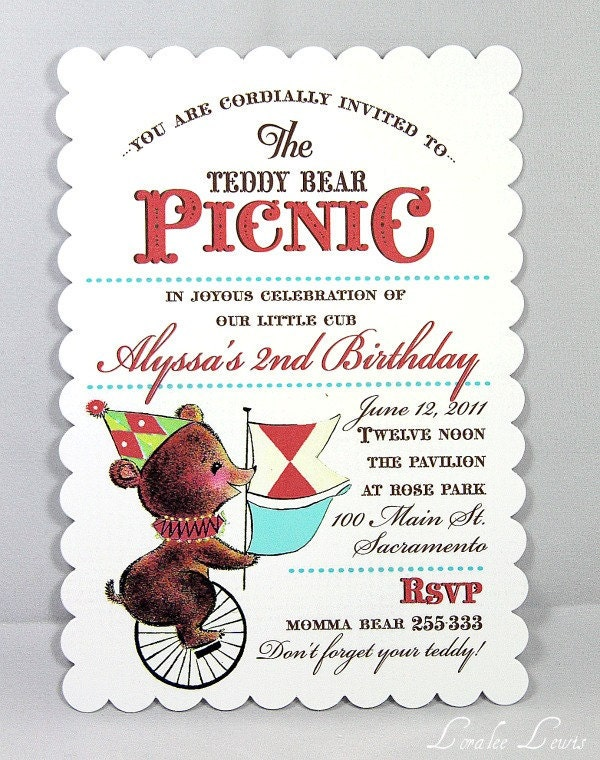 Invitation . Teddy Bear Picnic Collection . by Loralee Lewis