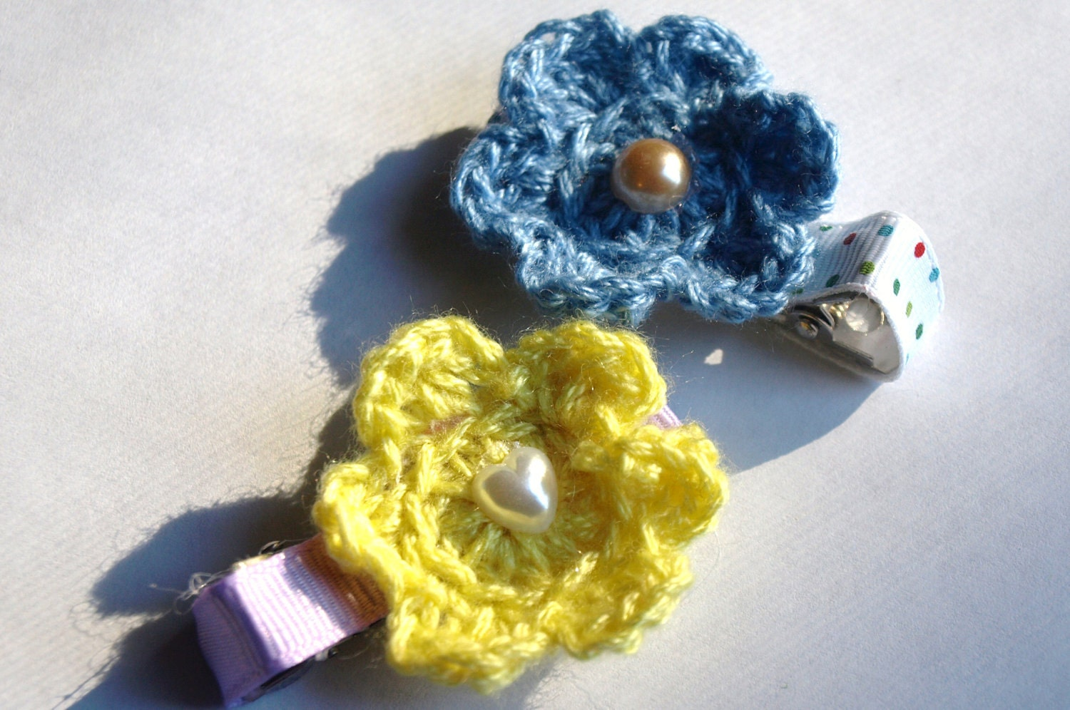 mini crochet flower clips