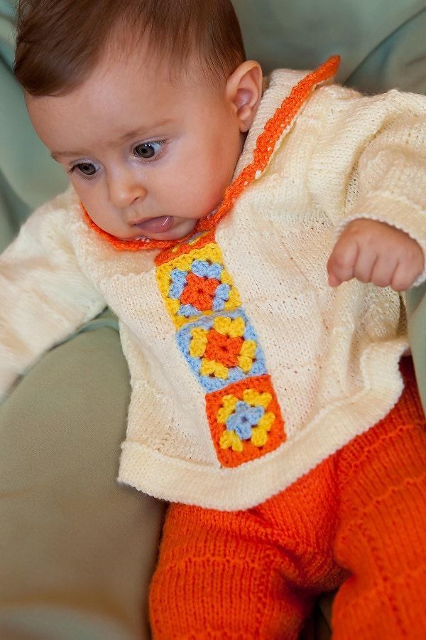 مقاله ، دست کت و شلوار نوزاد با نقوش crocheted کشباف -- آماده به کشتی