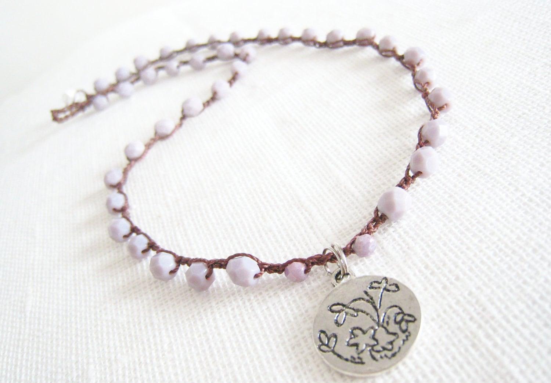 Beaded Crochet Necklace- Light Purple Czech Glass Beads Handmade Tibetan Silver Pendant Boho Bohemian Shabby Chic - TrulyAmberJewelry
