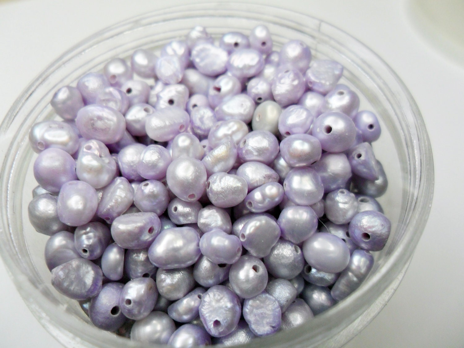 Pearls, Lavender Freshwater Pearl beads, 4-5mm, Side drilled,   45pcs - BeaconBeads