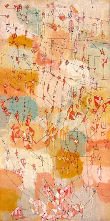 Traveling to James Town - Modern art Painting brown painting whimsical  Nature painting mixed media painting  12 inches x 24 inches