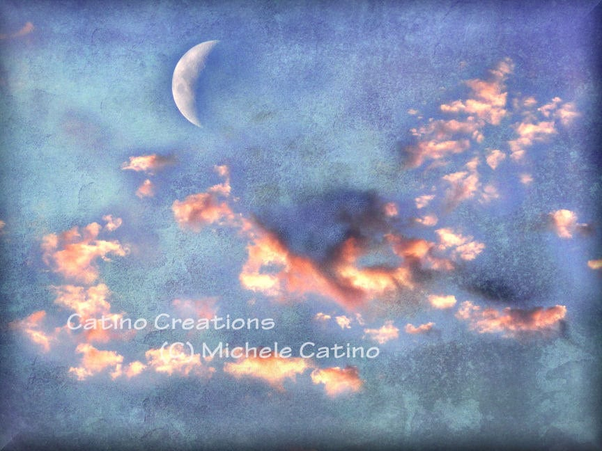 Glowing Orange Clouds in Heavenly Indigo Blue Surreal Sky with Crescent Moon. Signed Photo Art. - CatinoCreations
