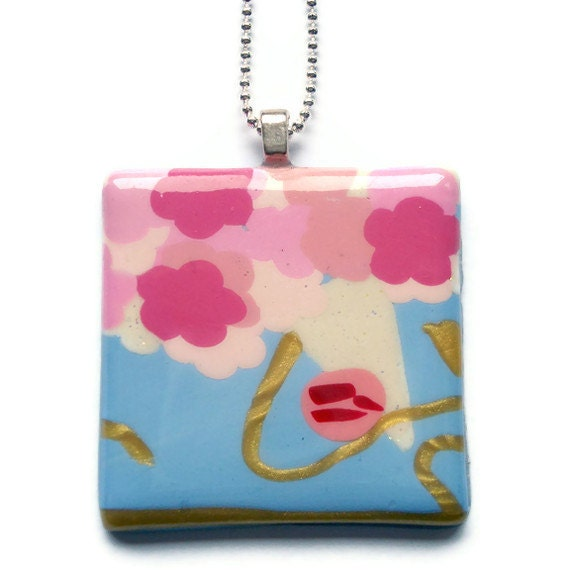 Square Pendant   Pink White and Blue Floral by KireinaJewellery |  Craft Juice :  polymer clay jewellery kireina jewellery etsy necklaces