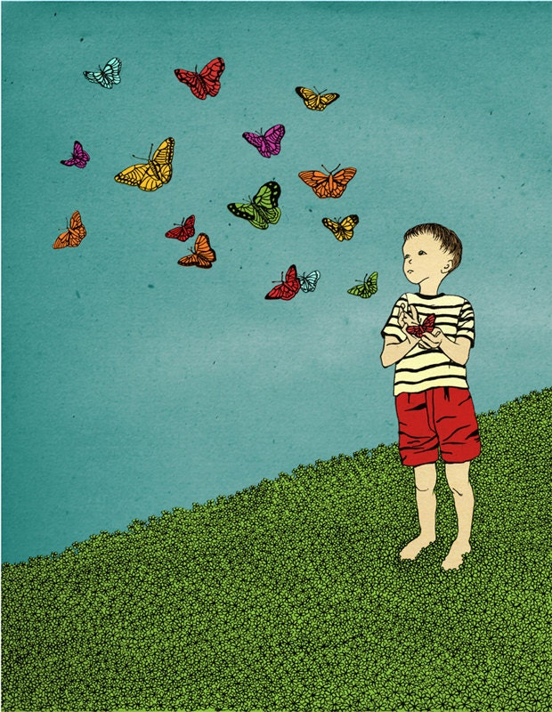 Children boy nursery Wall Art decor Print for kids illustration drawing - Boy releases butterflies - shirae