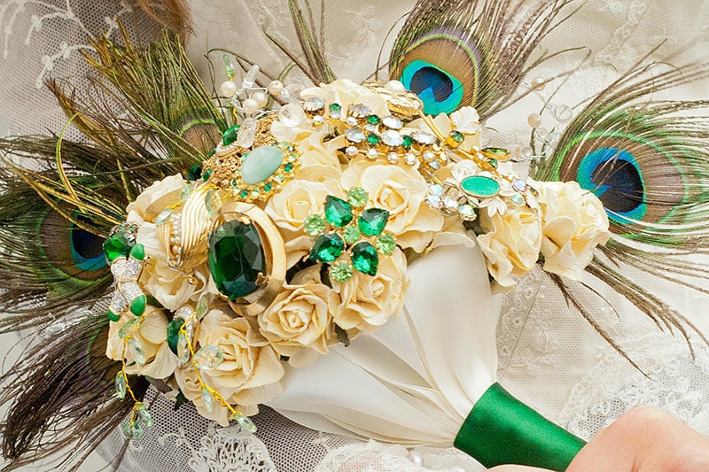 Emerald peacock vintage bridal bouquet RESERVED FOR W PHAN