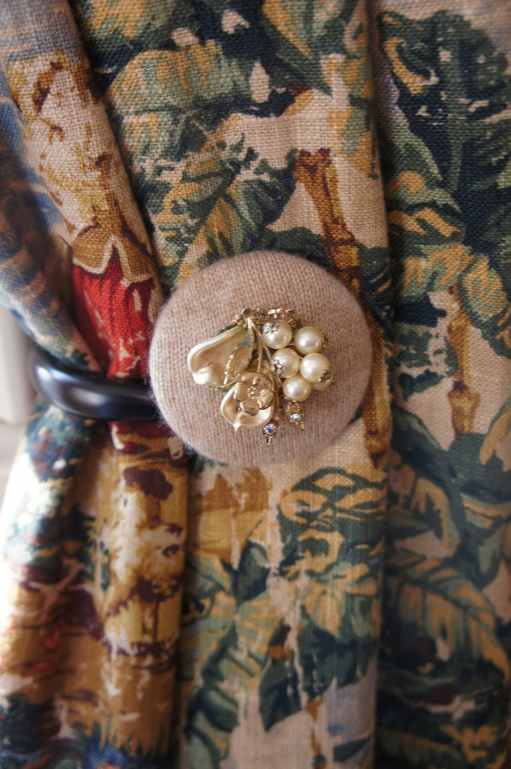 Curtain Tie Backs Unique Tiebacks Drapery Tie Back Tieback Cashmere Beige Vintage Jewelry FREE SHIPPING