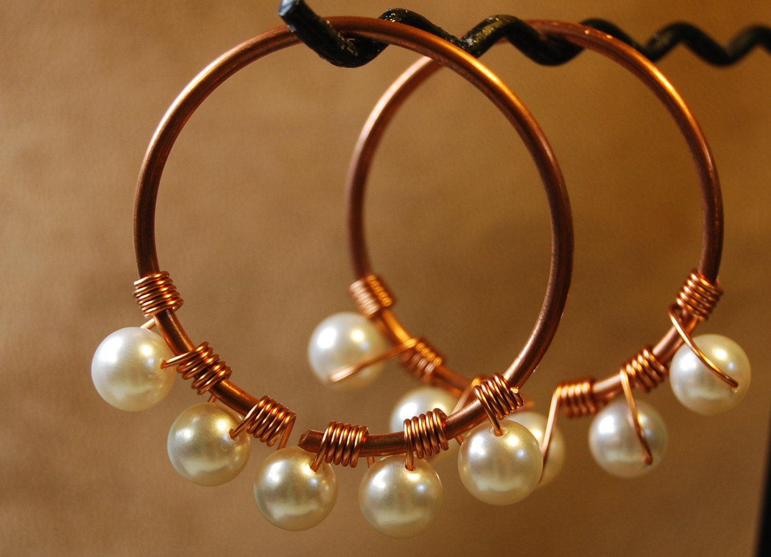 Coil Closure Copper Hoops with Pearls