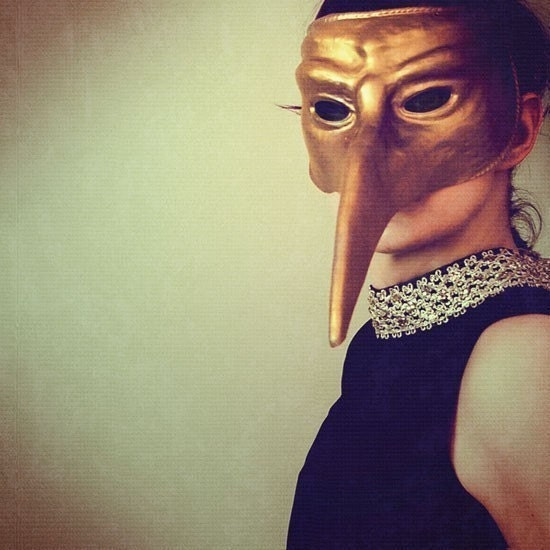 SALE Bird Mask Portrait, Ladybird, 8x8 Photograp, Surreal Print, Green, Gold, Masked Figure - ellemoss