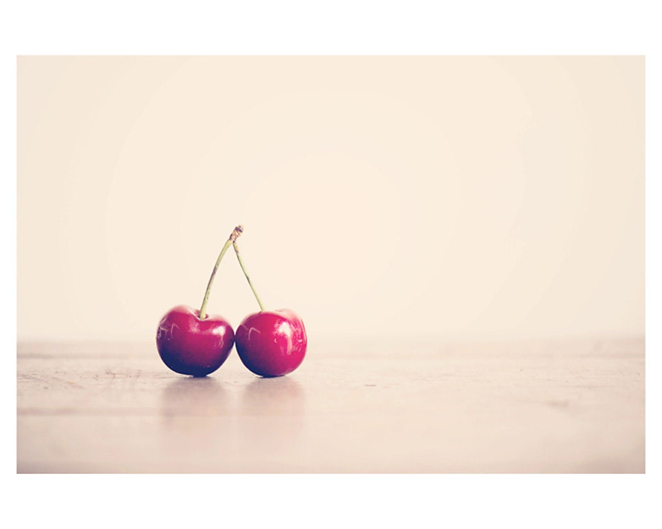 red cherry fruit photo print - whimsical fine art food photography, kitchen wall art, nursery decor, cream, pink, enchanting - 10x8 - oohprettyshiny