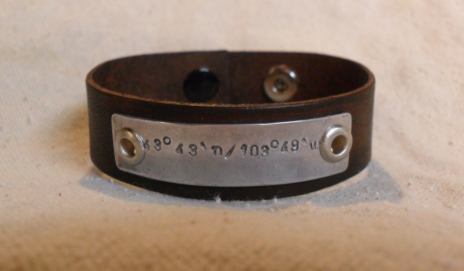 Men's Leather Bracelet Longitude Latitude Custom GPS Coordinates Bracelet