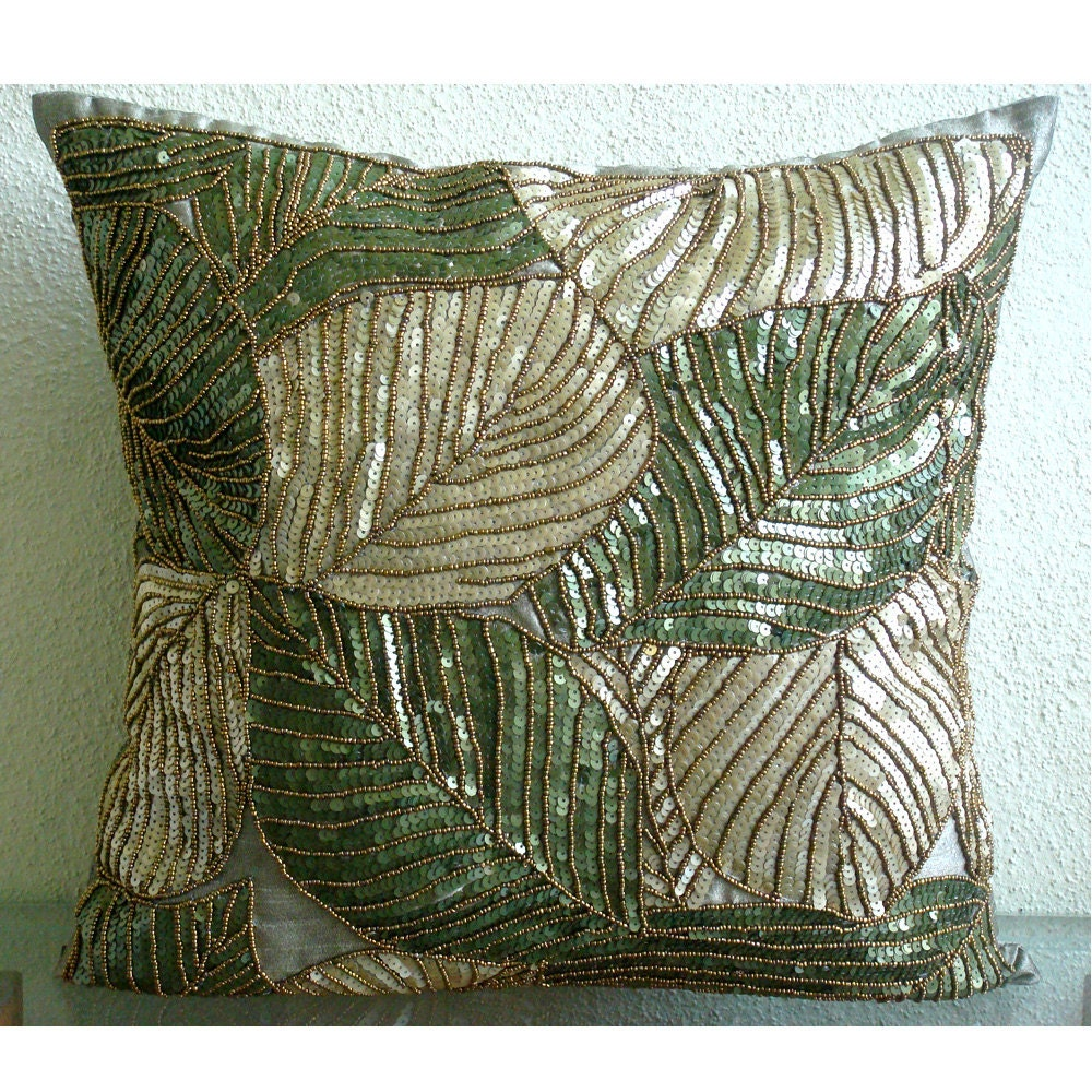 Зеленый Camoflague - Бросьте наволочки - 16х16 дюймов Шелковый Чехол с вышивкой пайетками