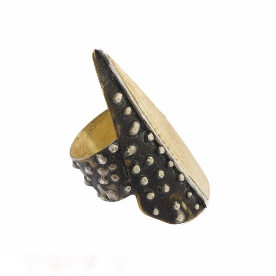 Contemporary Ring -  Brass and  Silver - Adjustable - serpilguneysudesigns