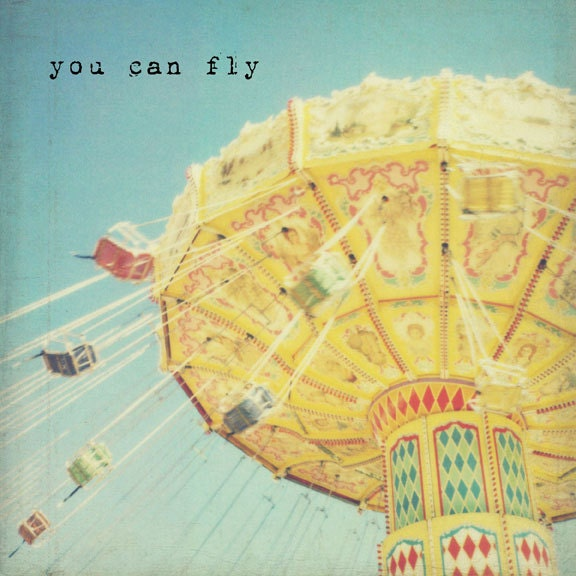 FREE SHIPPING - You Can Fly - 8x8 photo - nursery childrens room, carnival fair, whimsical inspirational in pale blue and yellow
