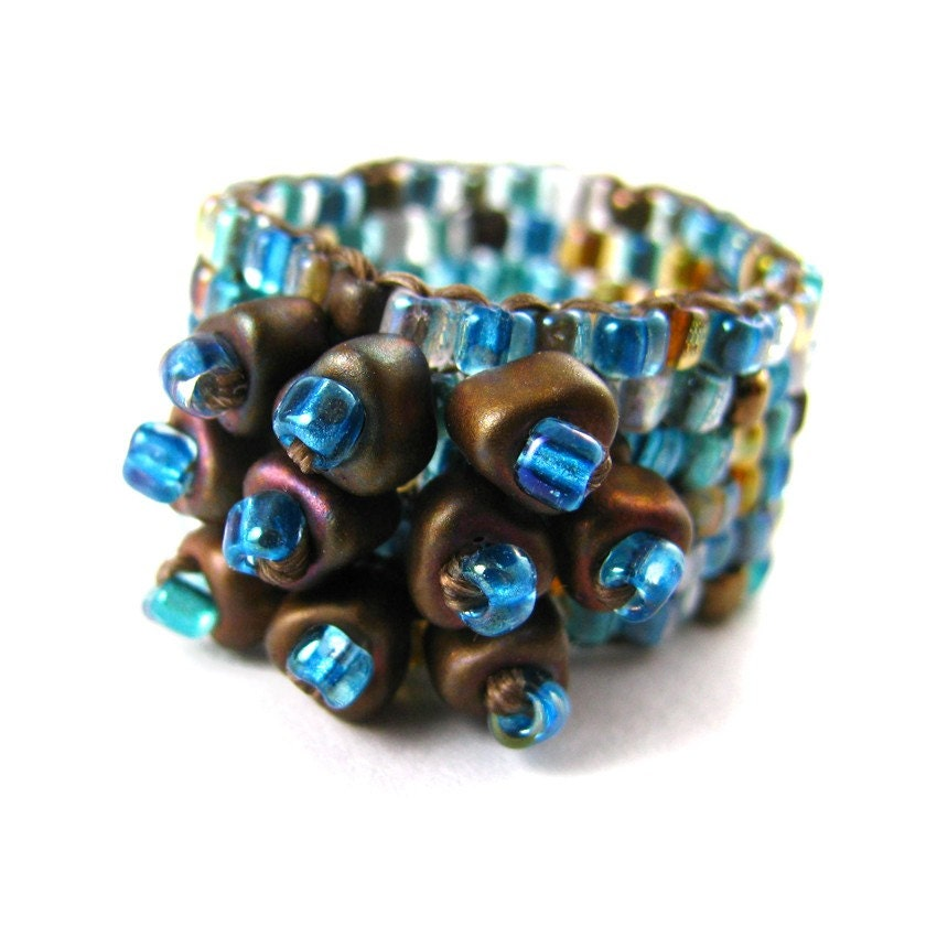 KINDNESS ring beadwoven with miyuki triangles in aqua, brown and gold - downtoearthcreations