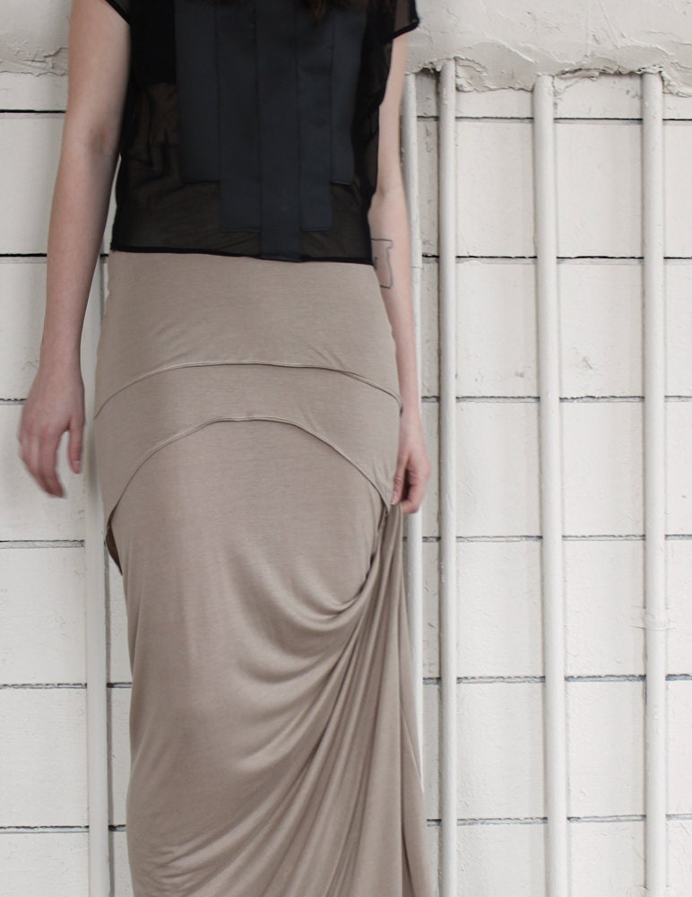 Long Maxi Skirt - creamy brown bamboo jersey, bohemian tiered high waisted style - large and custom sizing available - murmuration