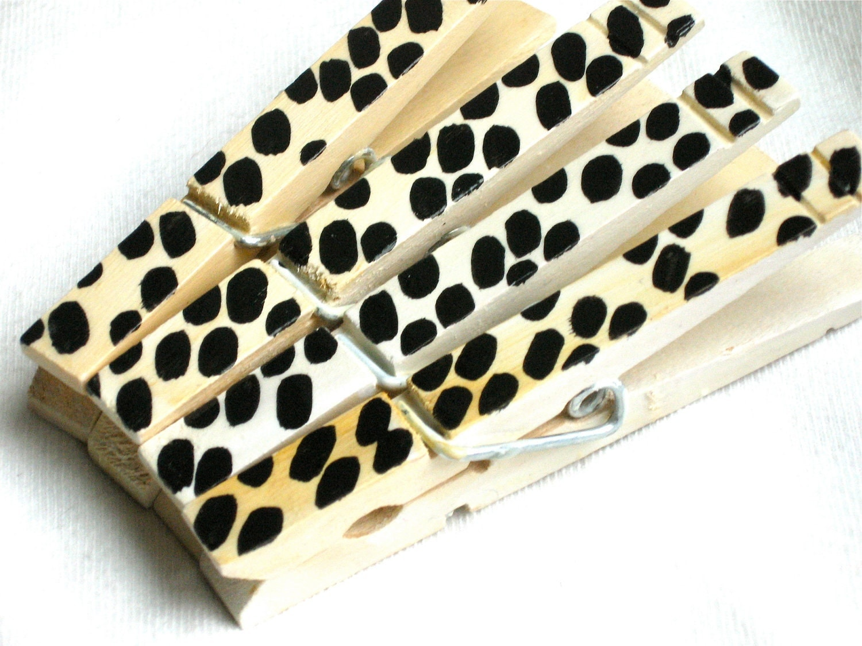 ANIMAL PRINT hand painted magnetic clothespin set - SugarAndPaint