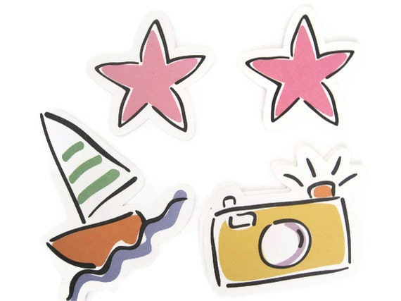 6 Summer Vacation Sea Die Cuts: Sailboat, Starfish, Camera