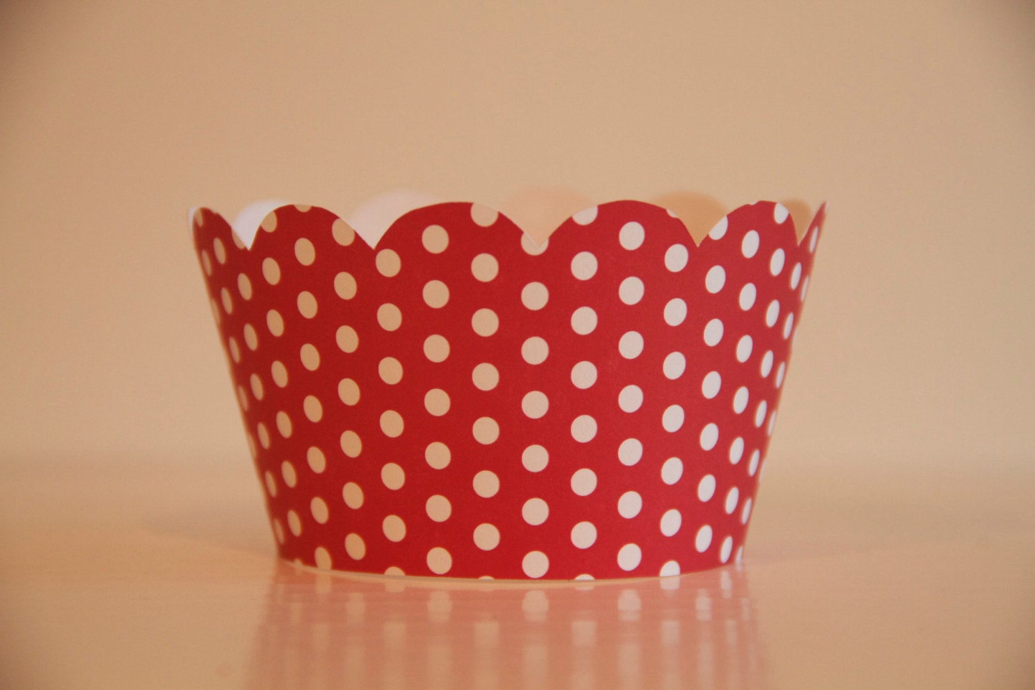 Red and White Small Polka Dot Cupcake Wrappers
