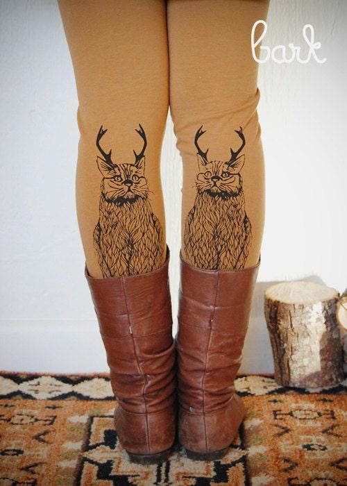 Wild Catalope Leggings - Womens Camel Jersey Spandex High Waist Cat wild catalope Leggings - Camel and Black - by Bark Decor