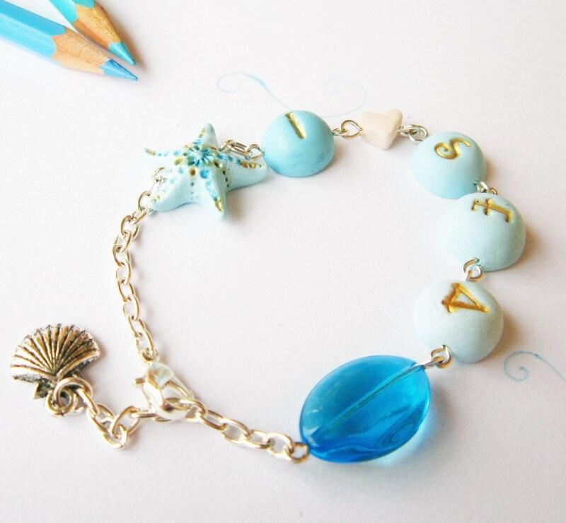 Mermaid bracelet, Sea Bracelet, Turquoise ombre, Words bracelet, I love sea, Turquoise  and gold, Starfish bracelet