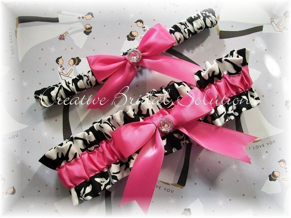 Black and White Damask with Hot Pink Wedding Bridal Garter Set