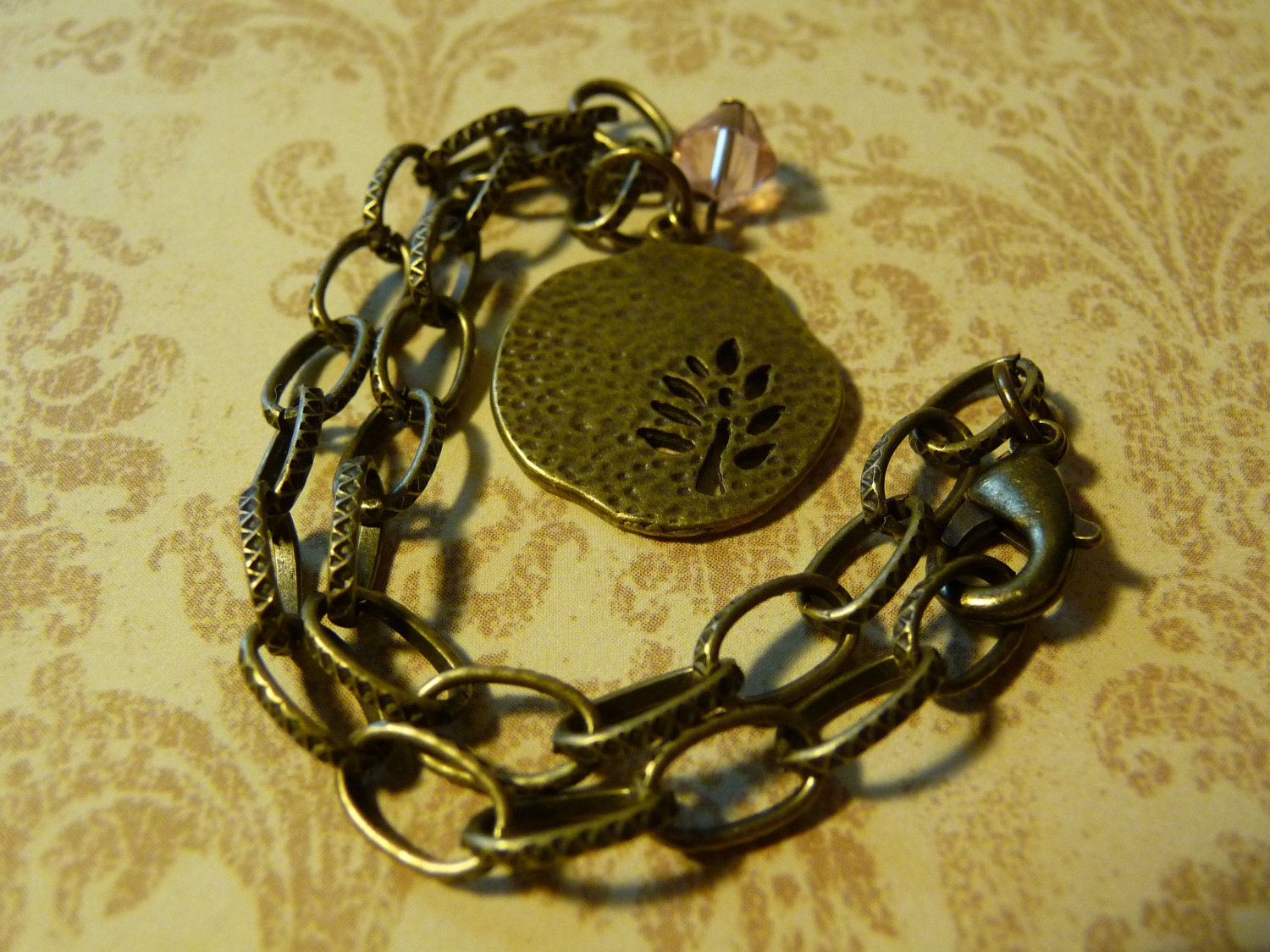Antique Fossil Leaf bracelet accented with a Swarovski Crystal by vintagerust