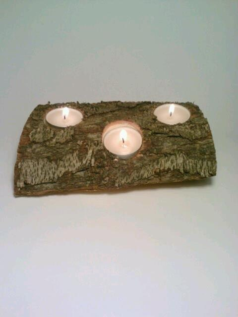 Fireplace Log, Split Log Tealight Candle Holder. Centerpiece, Room ...