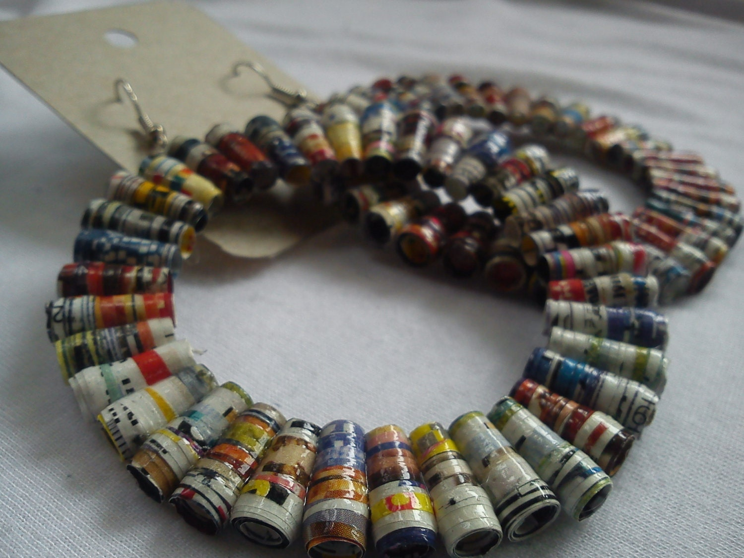 Upcycled hoop earrings made from magazines by TrashyCreations on UpcycleFever