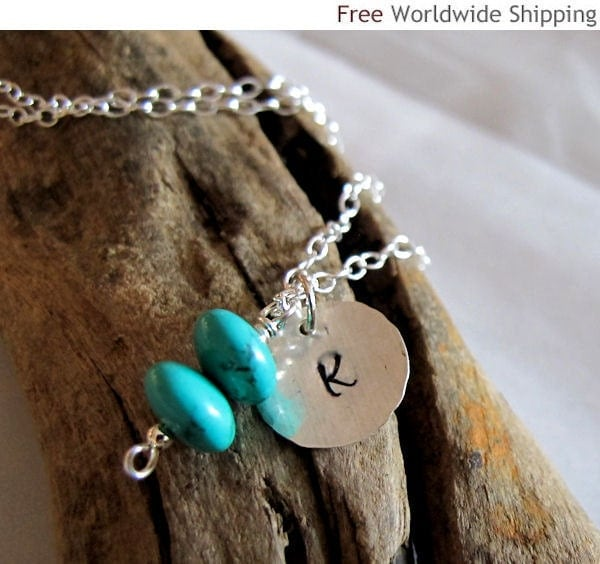 Turquoise Initial Necklace - Personalized Sterling Silver Disc Birthstones - Custom Jewelry, Hand stamped charm - NadinNecklaces