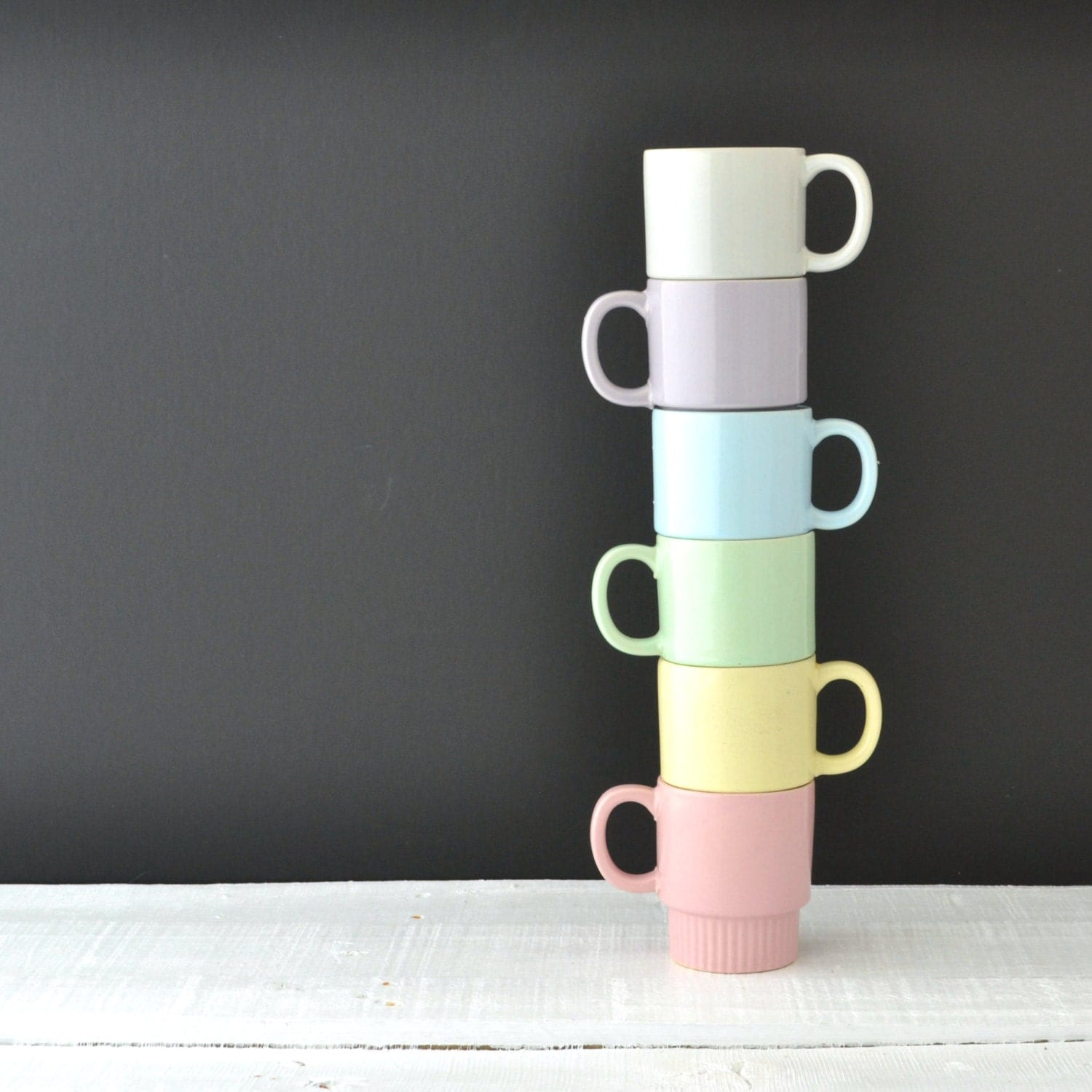Vintage Stacking Mugs - Pastel Coffee Cups - Made in Japan - Stackable Cups - Set of 6 - VintageResolution