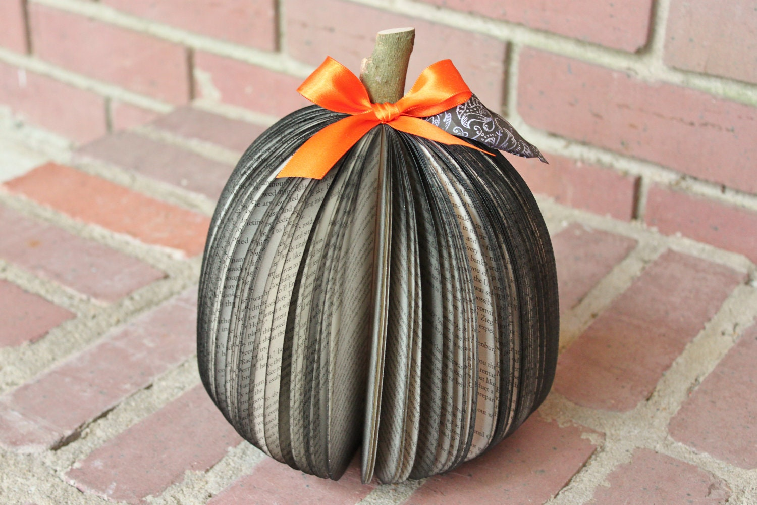 Halloween Upcycled Book Pumpkin, black with orange bow, MADE TO ORDER - whimsysworkshop