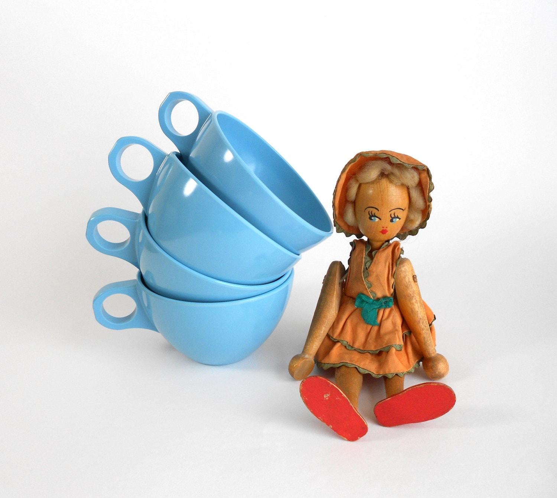 Stetson Melamine Teacups Set 4 Turquoise Aqua - OldVintageGoodies
