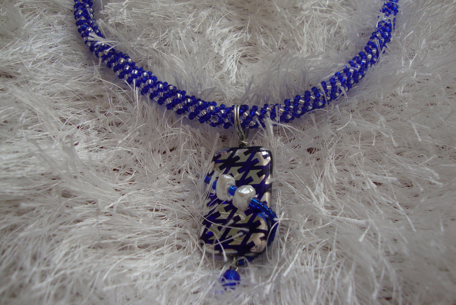 Blue Art Glass Bead Pendant on Blue  Silver Spiral - Davianna