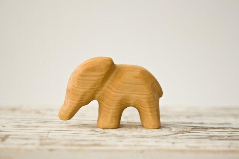 Wooden Waldorf Toy, Elephant - baby teether, baby shower gift, handmade, wood figurine - FrejaToys