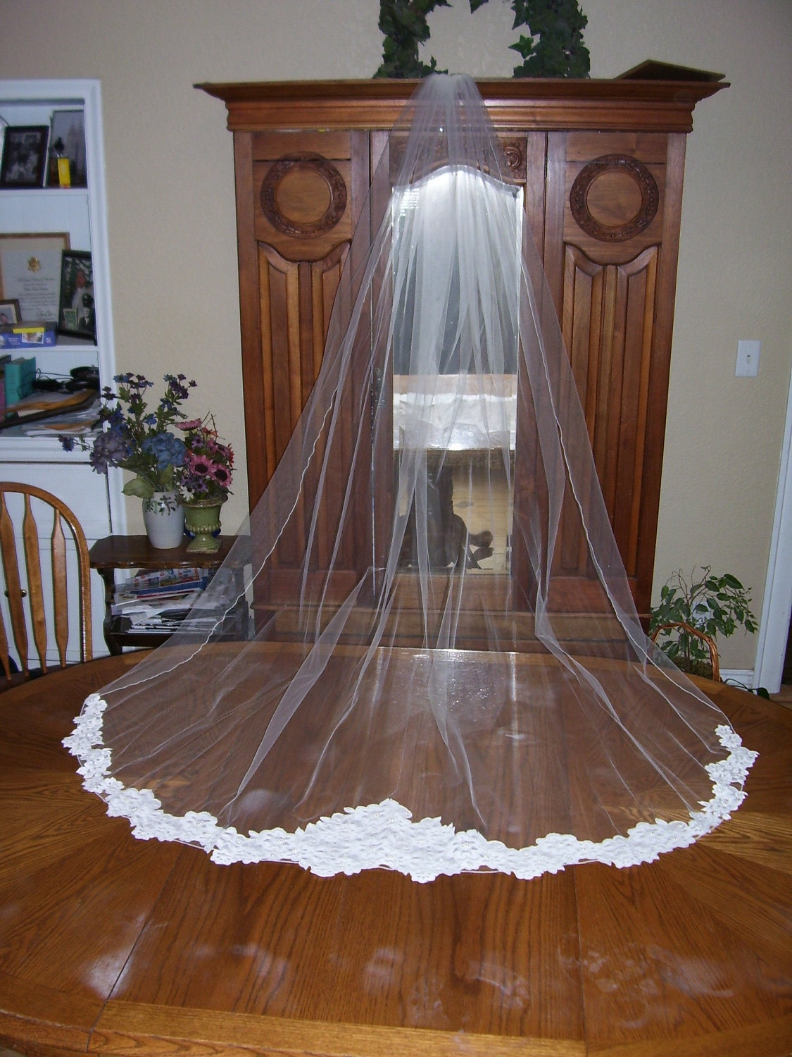 """Ivory  1 Tier Cathedral length 110"""" custom made  Wedding bridal Veil beaded lace bottom trim w/  pearls, pencil edge"""
