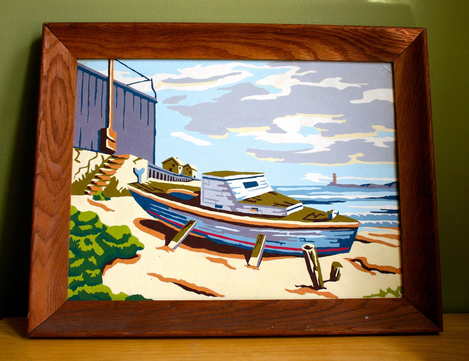 Sailboat Paint by Number in Chestnut Wooden Frame- Vibrant 1970's